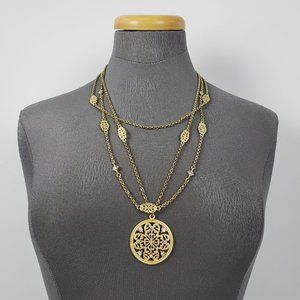 Gold Pendant Layered Necklace & Earrings Set